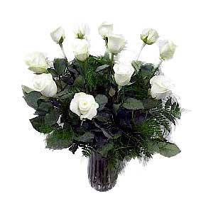 Signature Dozen White Rose Bouquet