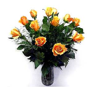 Premium Dozen Orange Rose Bouquet